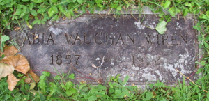 Abia Vaughan Wiren stone at New Sweden Cemetery