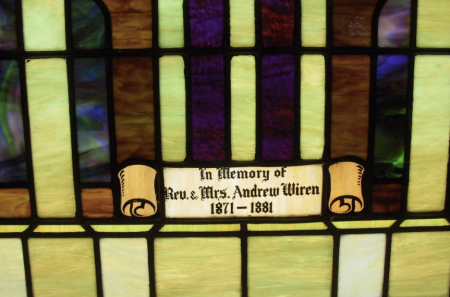 Stained glass at New Sweden's G. A. Lutheran Church