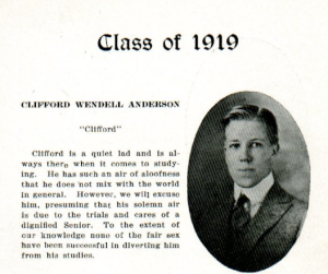 Mathilda Anderson's son , Clifford, graduated from Caribou High School in 1919.