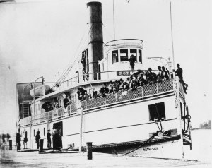 Steamer Rothesay docked at wharf with passengers aboard. – [ca. 1890s].