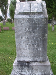 John E. and Hannah Olson stone at New Sweden, ME